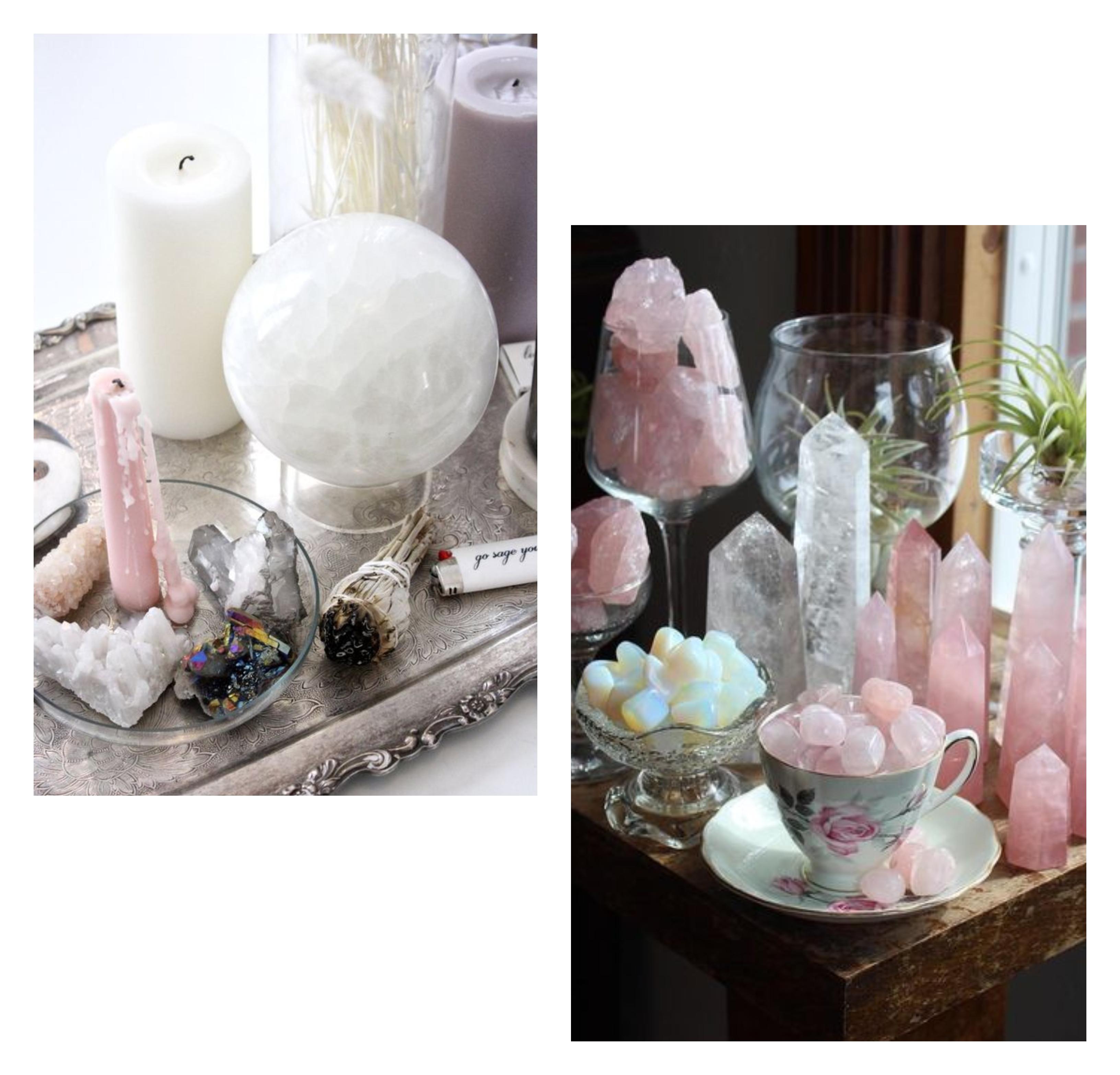 mini altar com pedras e cristais