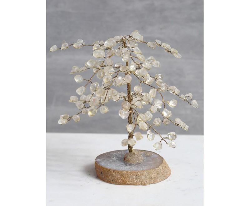 Árvore da Felicidade Quartzo Cristal com Base Ágata