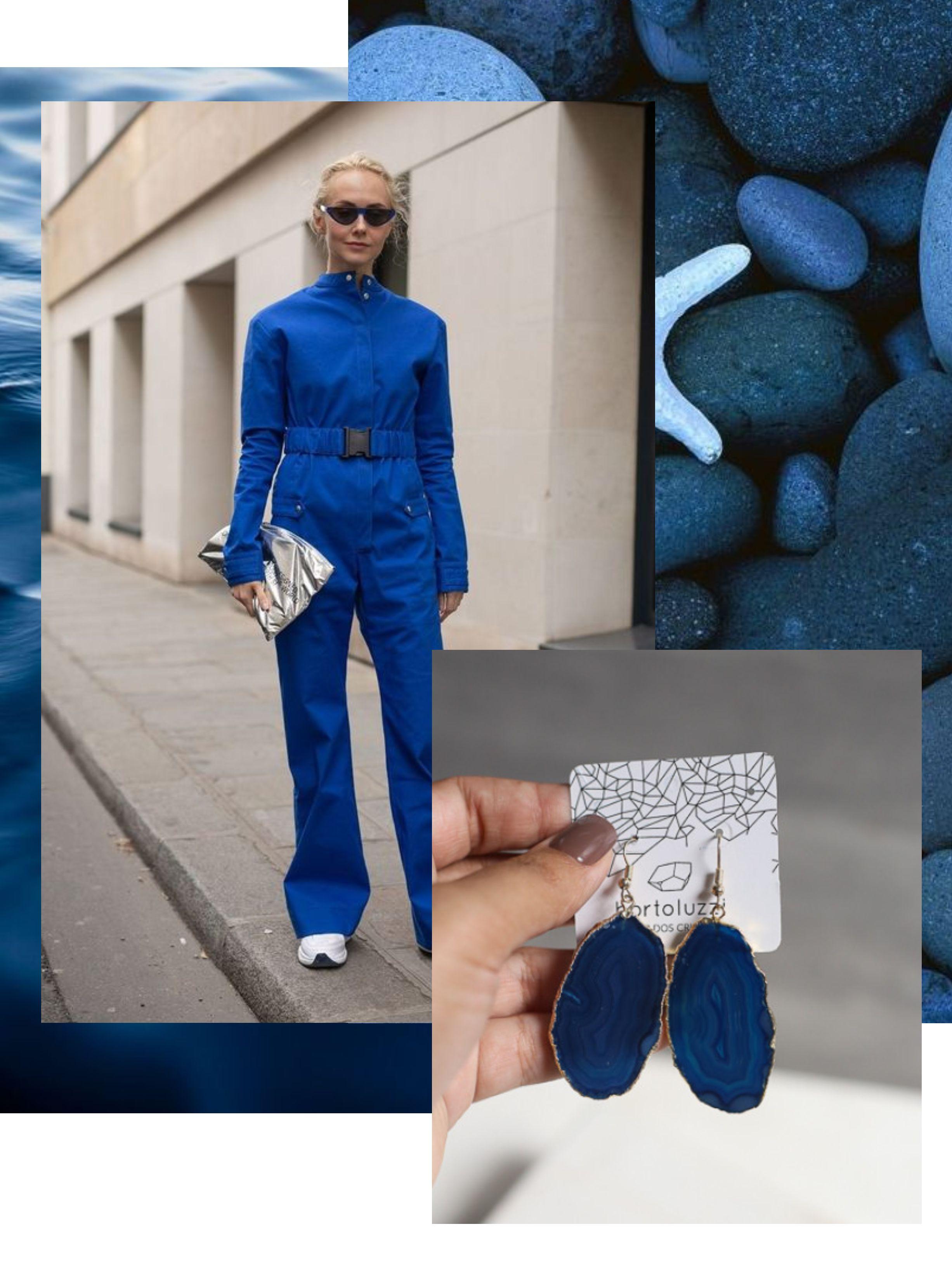 look com classic blue e brinco da marca shop dos cristais