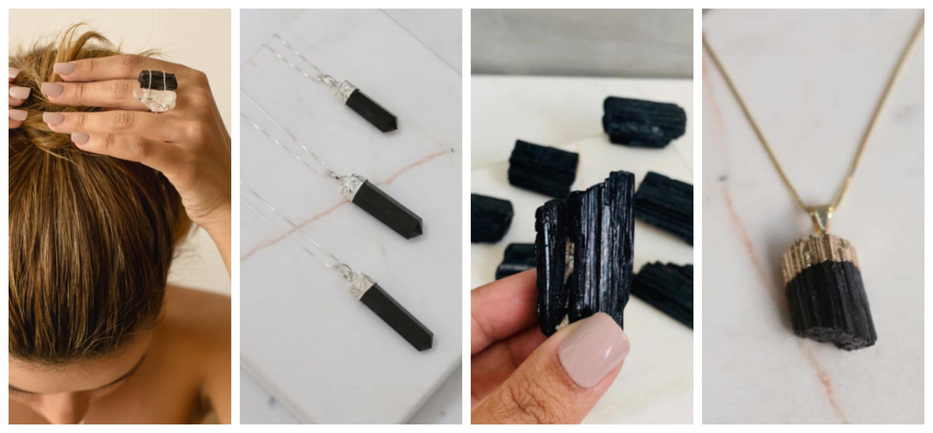 acessórios e decoração em pedra turmalina negra